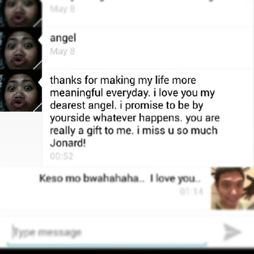 Received this message a while ago..  Kilig much..  Hahaha keso mo..