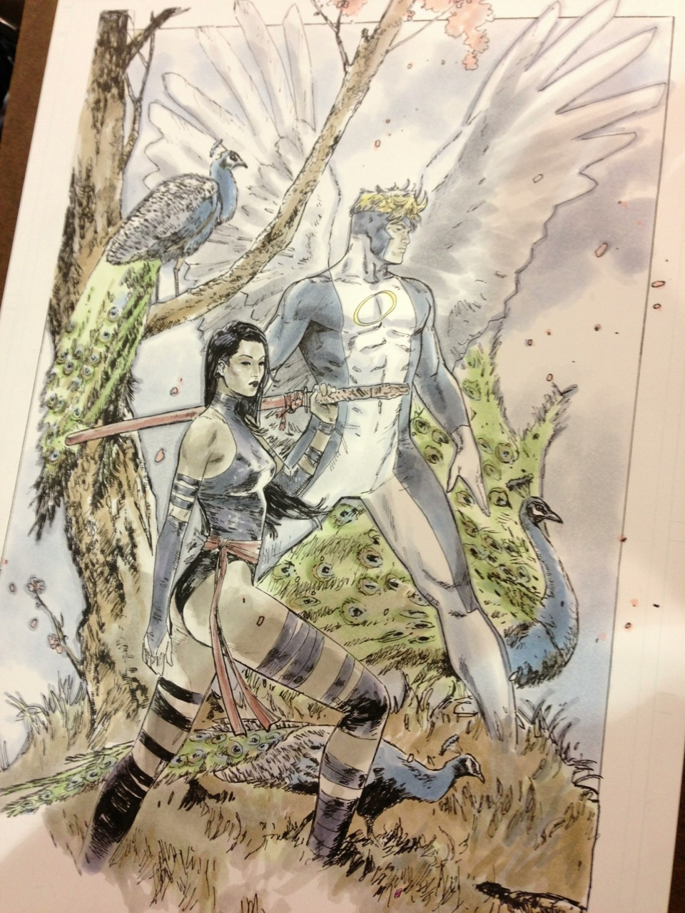 clay-mann:  Commission of psylocke and angel at motor city. requested: happy  Clay Mann's work is incredible, so much for keeping my blog photography related lol *reblogs the shiny* Absolutely beautiful <3