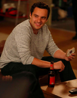 GUY CRUSH OF THE DAY - JAKE JOHNSON Truth must be told - Nick (Jake Johnson) and Angie (Olivia Munn) make the cutest 'New Girl' onscreen couple since Nick and Jess (which hasn't actually happened yet, but it will, it MUST)! So considering the seriously sizzling romance of this pair, we decided it was time for Jake Johnson and Olivia Munn to be name our 'Guy Crush' and 'Girl Crush' of the day! Image Source: TV Guide
