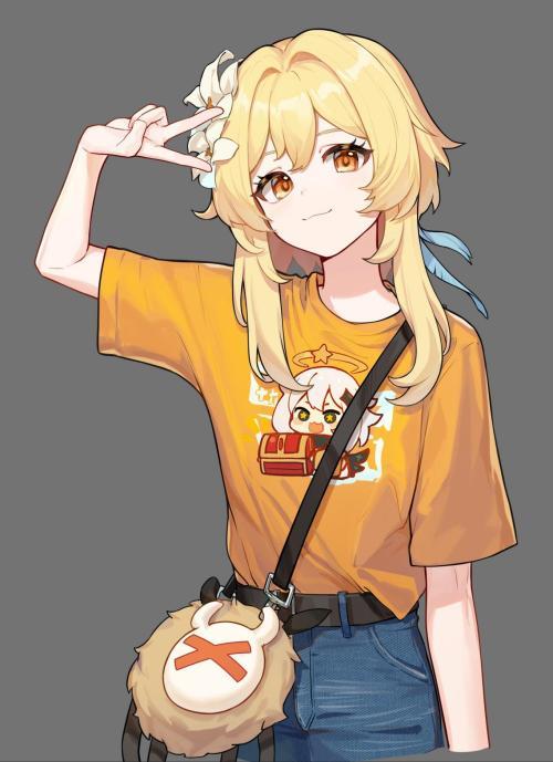 Lumine being cute [Genshin impact] #anime#Gneurshk__