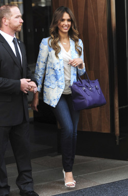 ralphlauren:   The Soft Ricky  Jessica Alba gives her street style a pop of color with a Soft Ricky bag in purple Explore Now