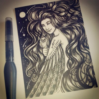 another-girl-with-a-bird-ink-sketch-woman