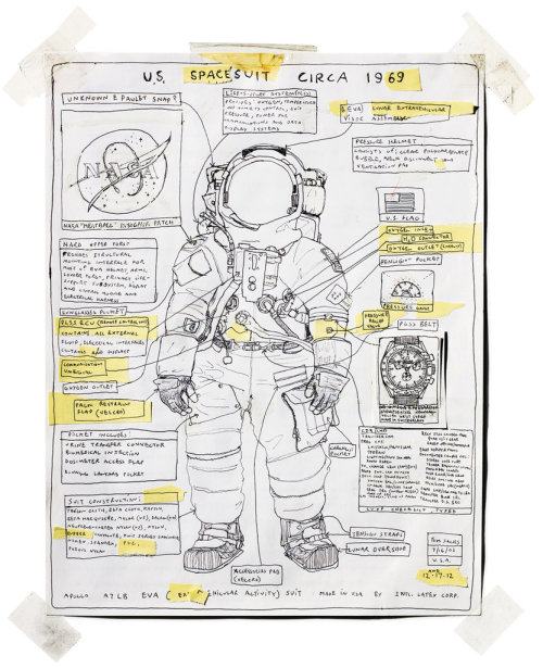 A rendering of Neil Armstrong's Apollo 11 suit by artist Tom Sachs, based on the Apollo Lunar Surface Journal – one of several artist tributes to cultural icons who passed away in 2012.