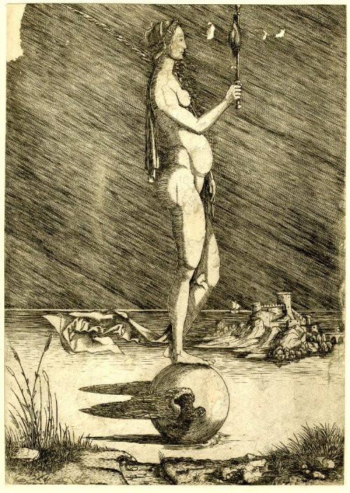 Fortune gazing into a mirror balanced on a winged sphere - Master of 1515