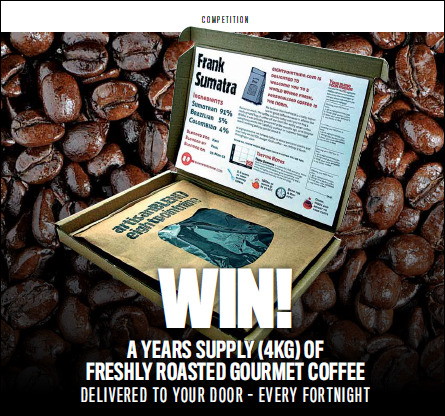 v> Now, would you like to win a years supply of coffee, freshly roasted and delivered to your door from eightpointnine.com?   This contest starts February 15, 2013 and runs for 1 month until March 15, 2013 in conjunction with Caffeine Magazine. The winner gets:   A grand total of 3.9kg of freshly roasted fairtrade coffee – that's enough for over 400 cups! Over the course of a year we will send you 26 of our standard 150g coffee boxes. That's one a fortnight direct to your door, which you can select to be ground or as whole beans. You can even design your own coffee blend using our easy to use tools or by default we will send you a delicious GrandCRU blend designed by our in-house experts. Here's how to enter. 1. Follow Caffeinemag on Twitter (https://twitter.com/CaffeineMag)2. Follow Eightpointnine on Twitter (https://twitter.com/eightpointnine)3. Tweet the link below Win a years supply of Gourmet Coffee from 8.9 RT and follow @eightpointnine & @caffeinemag #WIN8.9Coffee T&Cs is.gd/89comp It really is that easy! GOOD LUCK!!!!   Tweet //