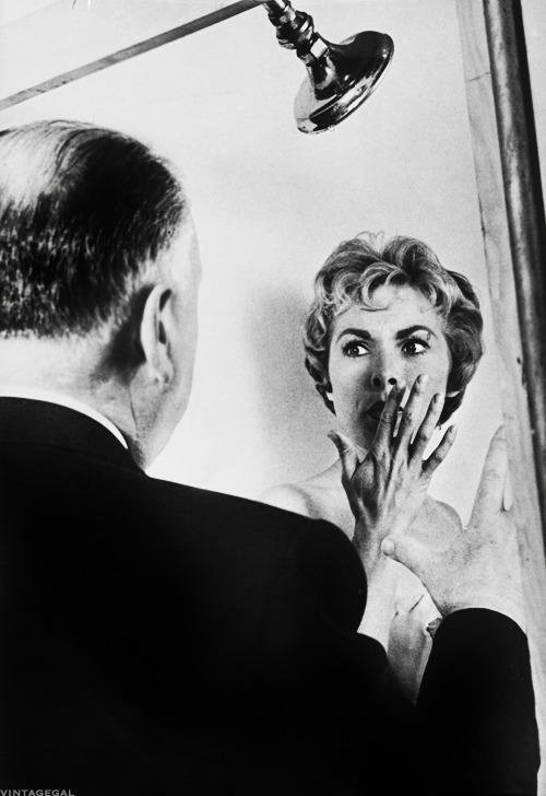 vintagegal:  Alfred Hitchcock and Janet Leigh on the set of Psycho (1960)