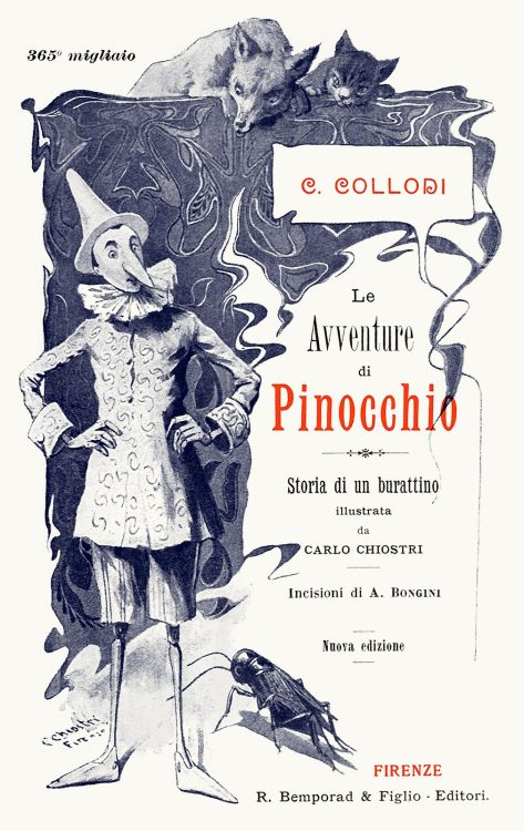 Carlo Chiostri, title page from Le avventure di Pinocchio, storia di un burattino (The adventures of Pinocchio; story of a puppet), by Carlo, Collodi, Florence, 1902.  (Source: archive.org)