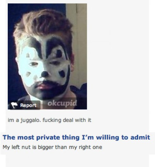 collegehumor:  Juggalos of OkCupid Are Here to Win Over Your Heart (Or Your Soul) A match made in Internet heaven.  via