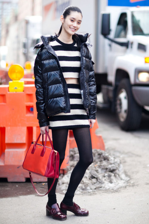 modelsdot:  Adorable Ming Xi :: Of the Minute : On the Street / FW 13   Ming made her top and skirt (she studied fashion design in college). Adorable. Her coat is Moncler and her bags and shoes are Miu Miu. Here after Michael Kors.