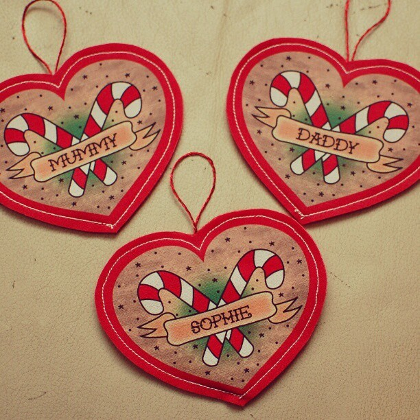 @katiemorag bought these wonderful little #tattoo style tree decorations from #etsy I believe. They have already survived a thorough Sophie test, as she was running about with then this morning! #xmas #decorations