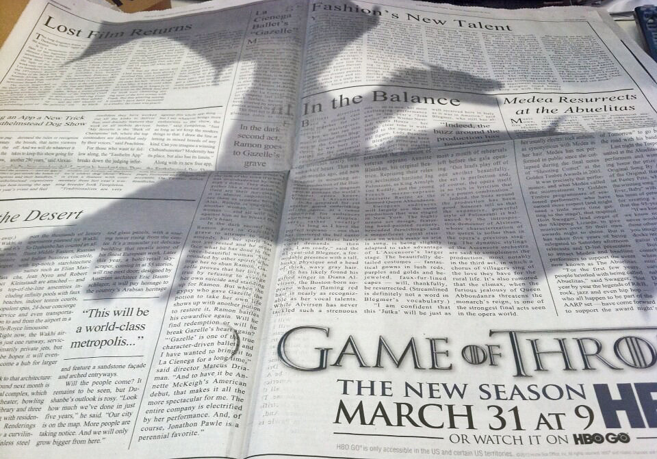 laughingsquid:  Game of Thrones Dragon Ad Takes Over The New York Times
