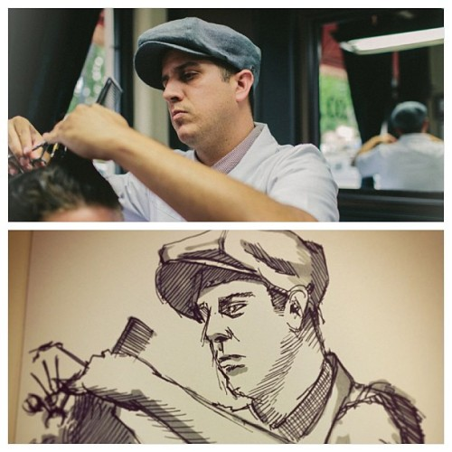 @dstoddard just sent this to me. Apparent @jongunlee drew a picture of me from the #brixton lookbook that was shot by @jackbelli. Pretty rad, want a print to put in the barbershop.