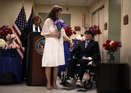 'You bet your sweet life': Guadalcanal veteran marries after 30-year courtship (Photo: Lucy Nicholson / Reuters) Former Marine Jack Wright, 88, one of the 11 remaining survivors of the World War II Battle of Guadalcanal, married his girlfriend of 30 years, Shirlene King, 57, at the Veterans Administration hospital in Los Angeles. Continue reading and see more photos.