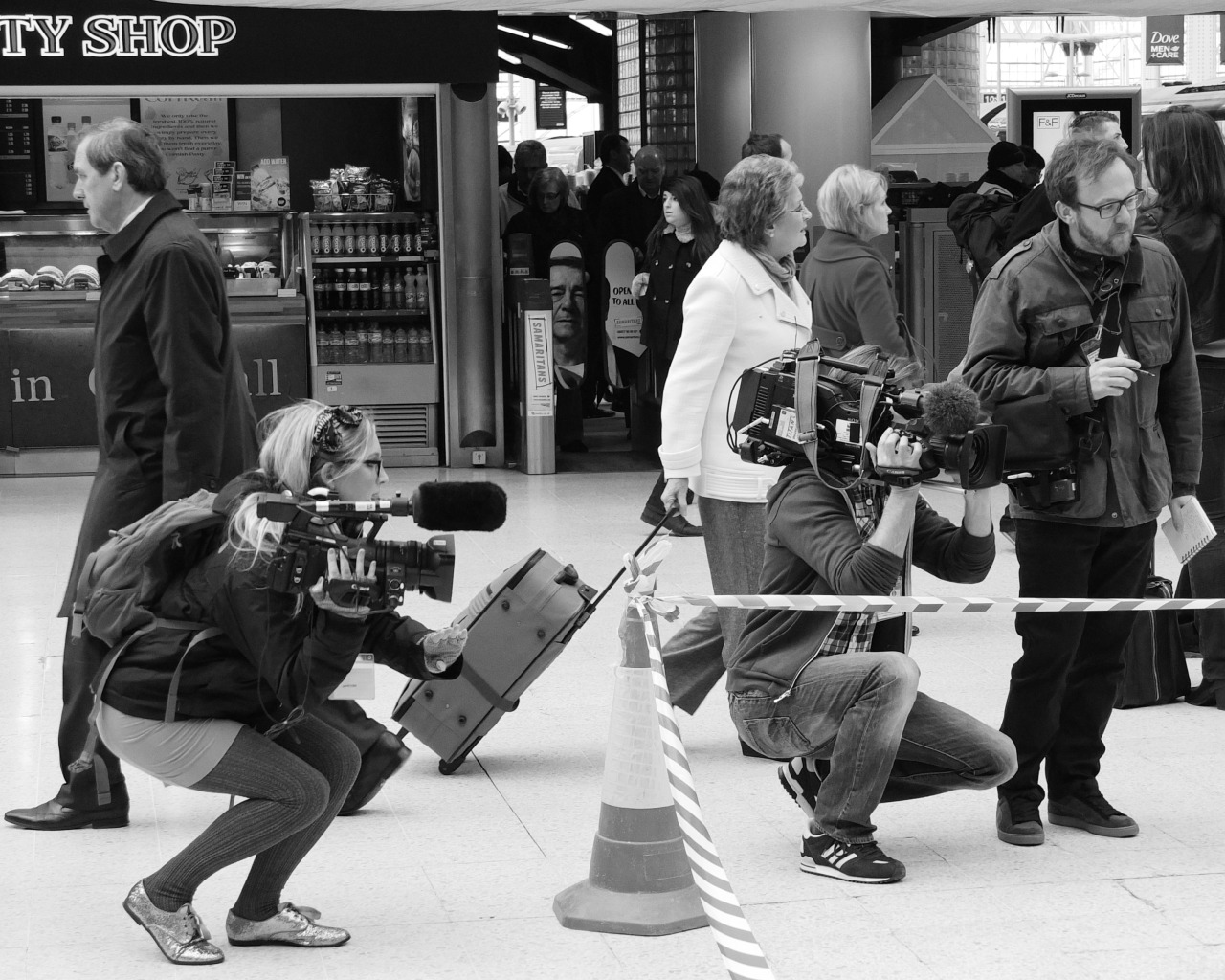 And…ACTION! Camera crew filming an advert, Waterloo Station, London