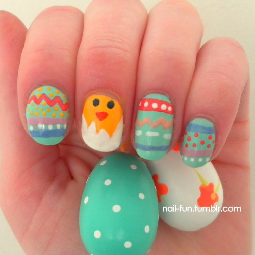 Easter eggs   Easter is coming, so here's a nail-art inspired on easter eggs! Happy easter for you all xoxo