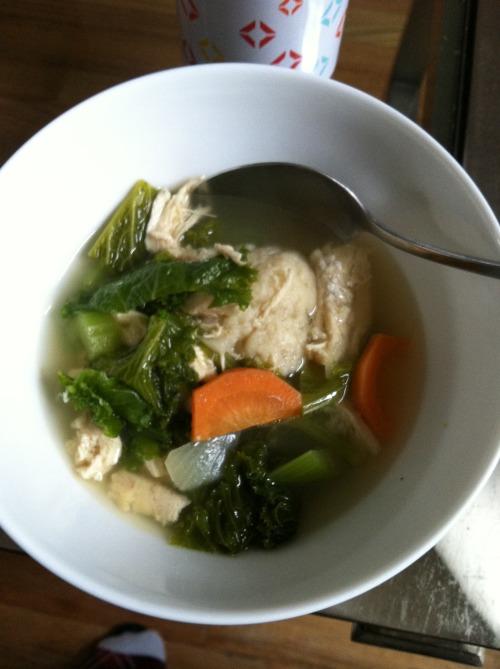 homemade chicken broth, soup and matzoh balls!