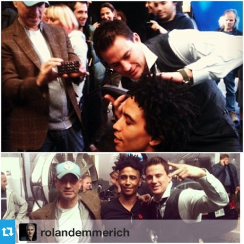 "celebsoninstagram:  Channing Tatum: ""How did @RolandEmmerich and @ChanningTatum celebrate Chan's last day of filming on #WhiteHouseDown? They convinced Chris (a crew member who hadn't cut his dreads in 10 years) to let them give him a mohawk! #channingtatum #repost"" (http://instagram.com/p/XlnruTgCJR/)"