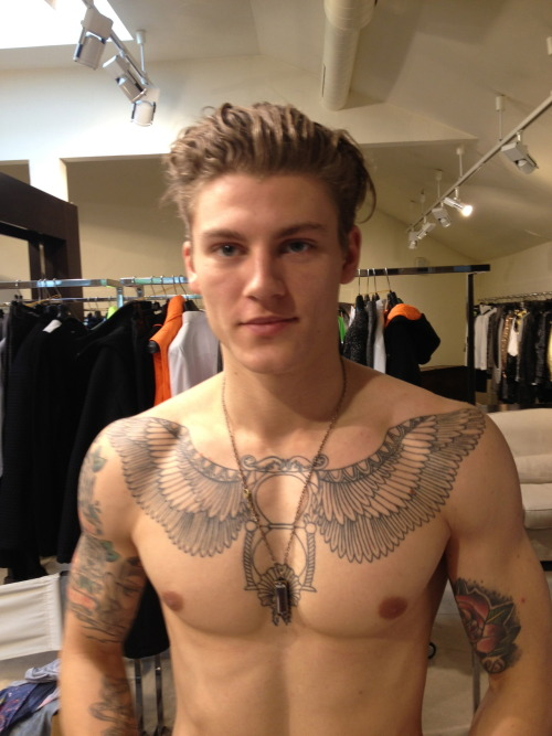 ladsreligion:    Frankie Morello A/W 2013.14 Backstage *His tat is awesome*