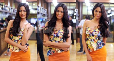 Miss Universe Philippines 2013 Ariella Arida tries out different poses for the photographer during a party thrown for her last May 5, 2013 at Pasig City, Philippines.