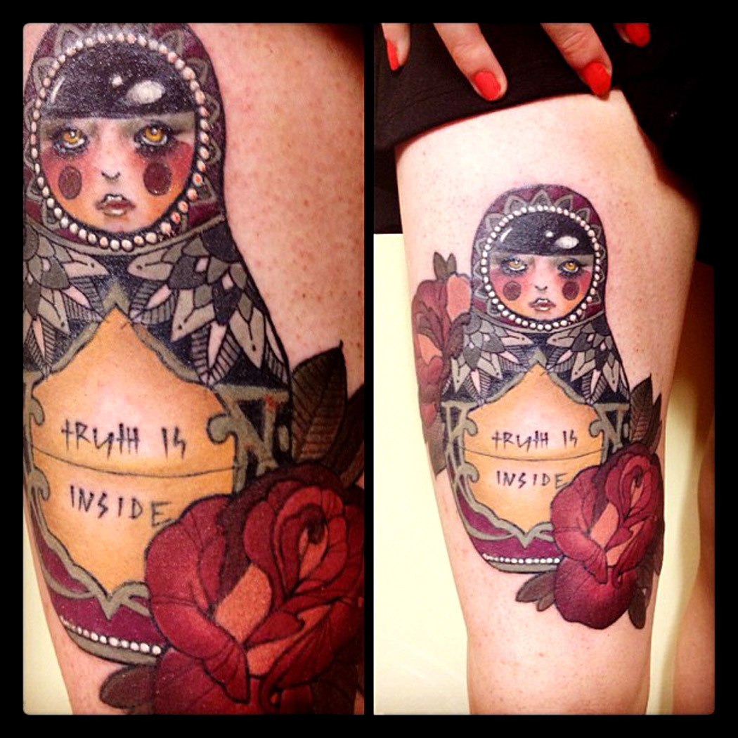 thievinggenius:  Tattoo done by Emma Louise.