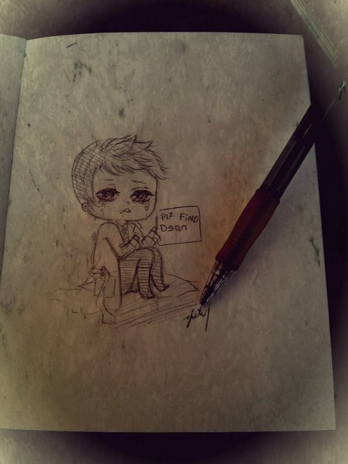 Sitting at starbucks doodling a lost little Cas ;n;