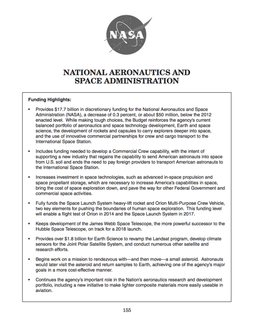 "spaceplasma:  Hidden deep in Obama's Fiscal Year 2014 Budget is this item: ""Begins work on a mission to rendezvous with—and then move—a small asteroid."" See what else you can find that's particularly noteworthy, and tell us."