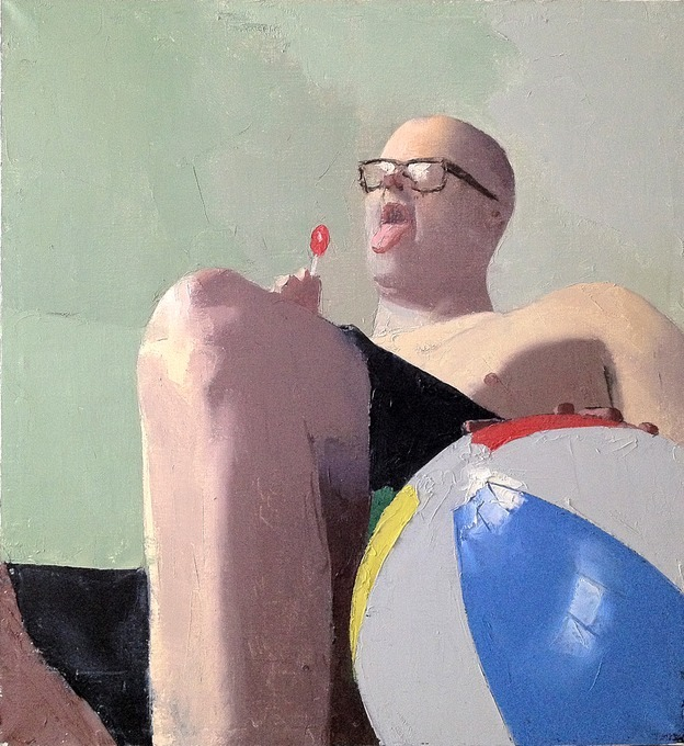 "trentgilliss:  David Campbell's paintings from his series ""The Idiot"" will make you laugh. Come on, a dude in repose sucking a lollipop while bouncing a beach ball is knee-slappin' funny! And some of his titles are even more humorous when paired with his painting. Granted, it's an odd humor at times. ""Touching My Wife's Hair While She Sleeps"" is kind of creepy, yes, but I love that the artist doesn't take himself too seriously.  They are rather strange and slightly awkward — and they're utterly beautiful. (h/t to Tamara Brantmeier)"