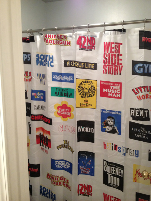 My mom got me a Broadway shower curtain for Christmas so now instead of just singing in the shower, I face away from the curtain, point at a random show behind me, and begin singing my Broadway Jukebox Shower Medley.