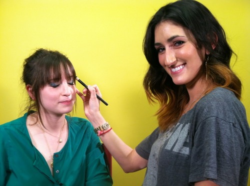 Behind the scenes at Gurl — Caitlin is taking some time to give Julie a fabulous makeup tutorial! Check out 7 Sneaky Beauty Doubles for some awesome beauty tips from Caitlin!