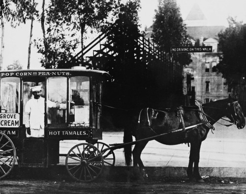 usclibraries:  A horse-drawn food truck in front of the University of Southern California campus in 1910.  Part of the University of Southern California History Collection in the USC Digital Library.