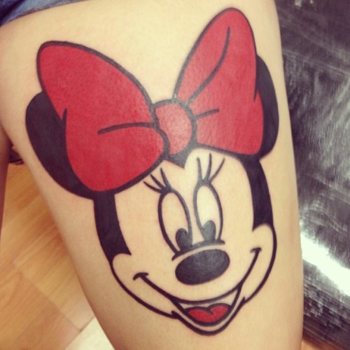 All done! I love it.😻🎀 #MinnieMouse #Minnie #Tattoo #MinnieMouseTattoo #Disney