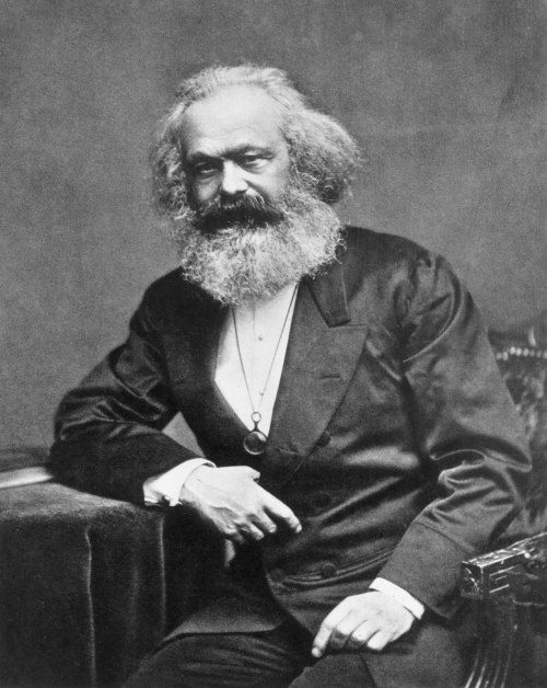 baronessvonbullshit:  todayinhistory:  May 5th 1818: Marx born On this day in 1818 the Prussian philosopher Karl Marx was born. He is often considered the father of communism for his 1848 work with Friedrich Engels 'The Communist Manifesto'. His beliefs were that human society is based around class struggle, and capitalism allows the bourgeoisie to exploit the workers (proletariat). He predicted that capitalism would eventually crumble and be replaced with socialism then communism. Marx died in London in 1883 aged 64.  happy birthday to my fave