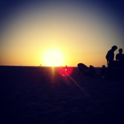 Beautiful sunset at Huntington Beach when I had a bonfire with the cousins