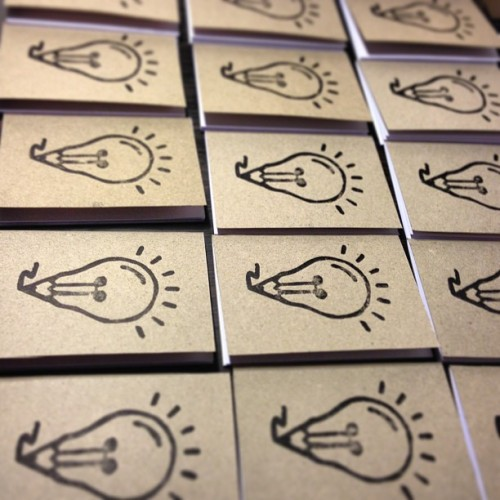 andreaswikstrom:  Mass production of (linocut) notepads