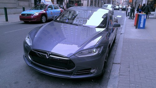 Legendary-bowman submitted: This is a Tesla Model S I saw while walking around downtown Philly. I ran across the street to get a picture; my girlfriend wasn't too happy, but I knew it was worth my time. Very few of these on the East Coast. Seen outside Rittenhouse. Submission Sunday