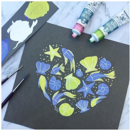 flashesofdelight fish shellbra gouache painter sea darlingmovement mermaid mustashleigh myunicornlife ashleighbeeversart painting starfish livecolorfully thatsdarling green shells ariel color paint blue artist