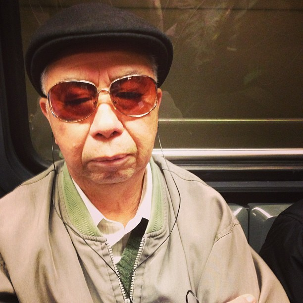 Cool tunes, man on the L. #muni #passengers #sunglasses #headphones #hat #oldman #transit