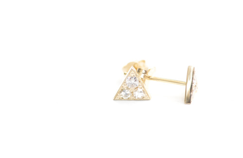 MOCIUN custom Diamond Triangle Studs with white diamonds set in 14k yellow gold.
