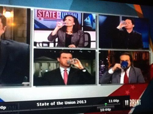 Marco Rubio was thirsty during last night's GOP rebuttal to the State of the Union address, so our hosts drank to that. Thanks to @Sharon_Paley on Twitter for capturing this fine moment for us.