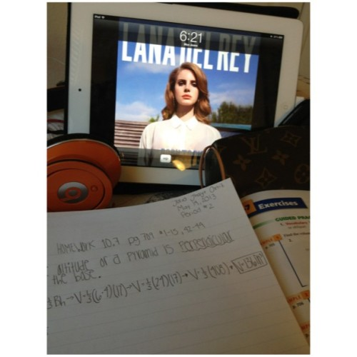 Doing #Math homework✏ and listening🎧 to lana del Rey