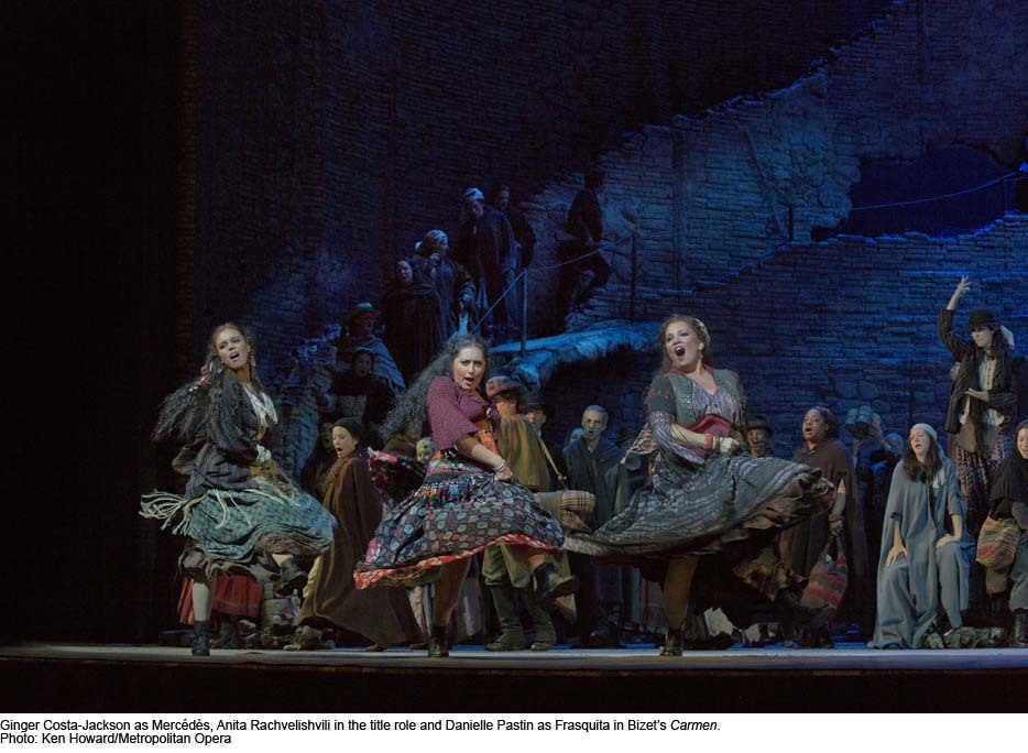 Ginger Costa-Jackson, Anita Rachvelishvili, and Danielle Pastin in the Met's production of Bizet's Carmen