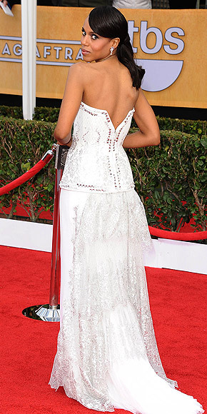 Better From The Back? Kerry Washington Kerry continues her style streak in an unexpected white Rodarte gown with a corset-style bodice at the SAG Awards. See her look from all angles here!