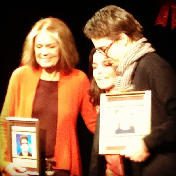 Gloria Steinem, Catie Lazarus, and Rachel Maddow at Employee of The Month (at UCB Theatre East)