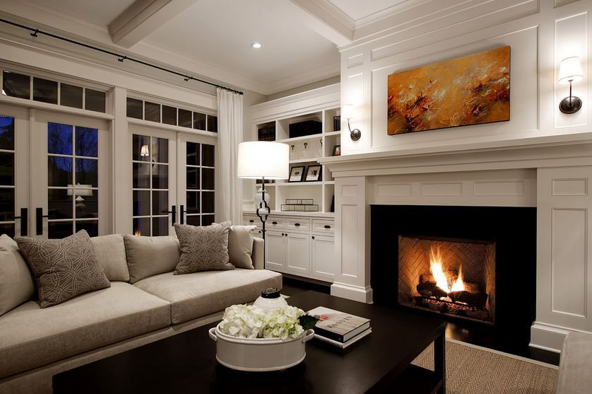 Loving this family room - so classy and comfortable Source