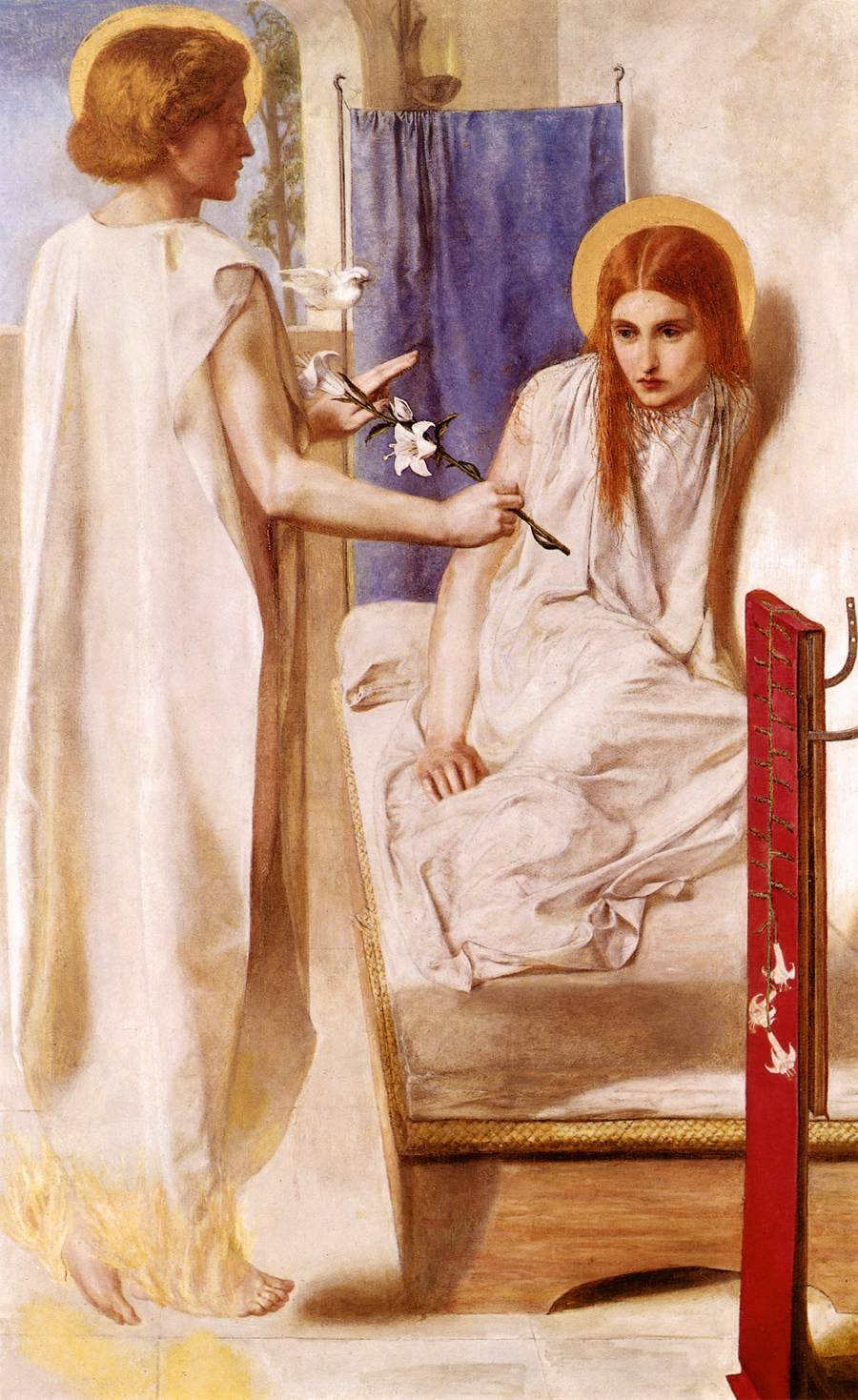 Ecce Ancilla Domini! (The Annunciation), 1849-50. Dante Gabriel Rossetti (English, Pre-Raphaelite, 1828‑1882). Oil on canvas. Tate. Traditionally the Virgin was depicted in studious contemplation, reading a missal at a prie-dieu; but here Rossetti shows her rising awkwardly from a low bed, as if disturbed from sleep, while the Angel Gabriel presents her with a white lily. Both figures are dressed in white, a symbol of the virgin's purity, and the angel's role as the messenger of God is emphasised by the small white dove hovering beside him, signifying the presence of the Holy Spirit.