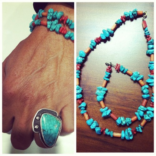 My uncle makes the best Native American jewelry at pow wows with real turquoise and coral 😍 #nativeamerican #proud #myheritage #powwows #colorado #jewelry #turquoise #coral #rings #necklaces #bracelets #americanindian