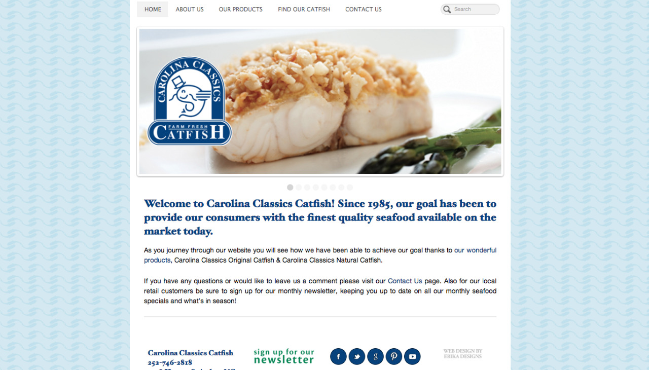 Recently completed website for Carolina Classics Catfish