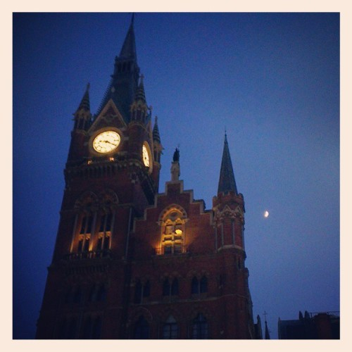 The St Pancras Hotel looks amazing even at night - and dwarfs the tiny moon
