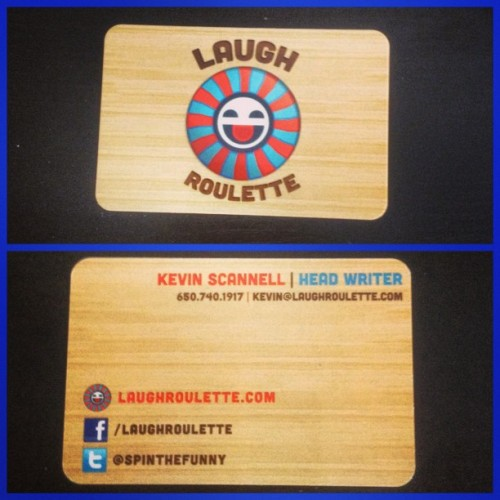 My @LaughRoulette business cards FINALLY came!! This woodgrain is ON POINT!!  You're looking at the 'Head Writer' at LaughRoulette.com , party people #laughroulette #SpinTheFunny