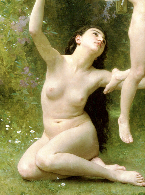 Love Takes Off (detail) by William Adolphe Bouguereau (1825-1905) oil on canvas, 1901